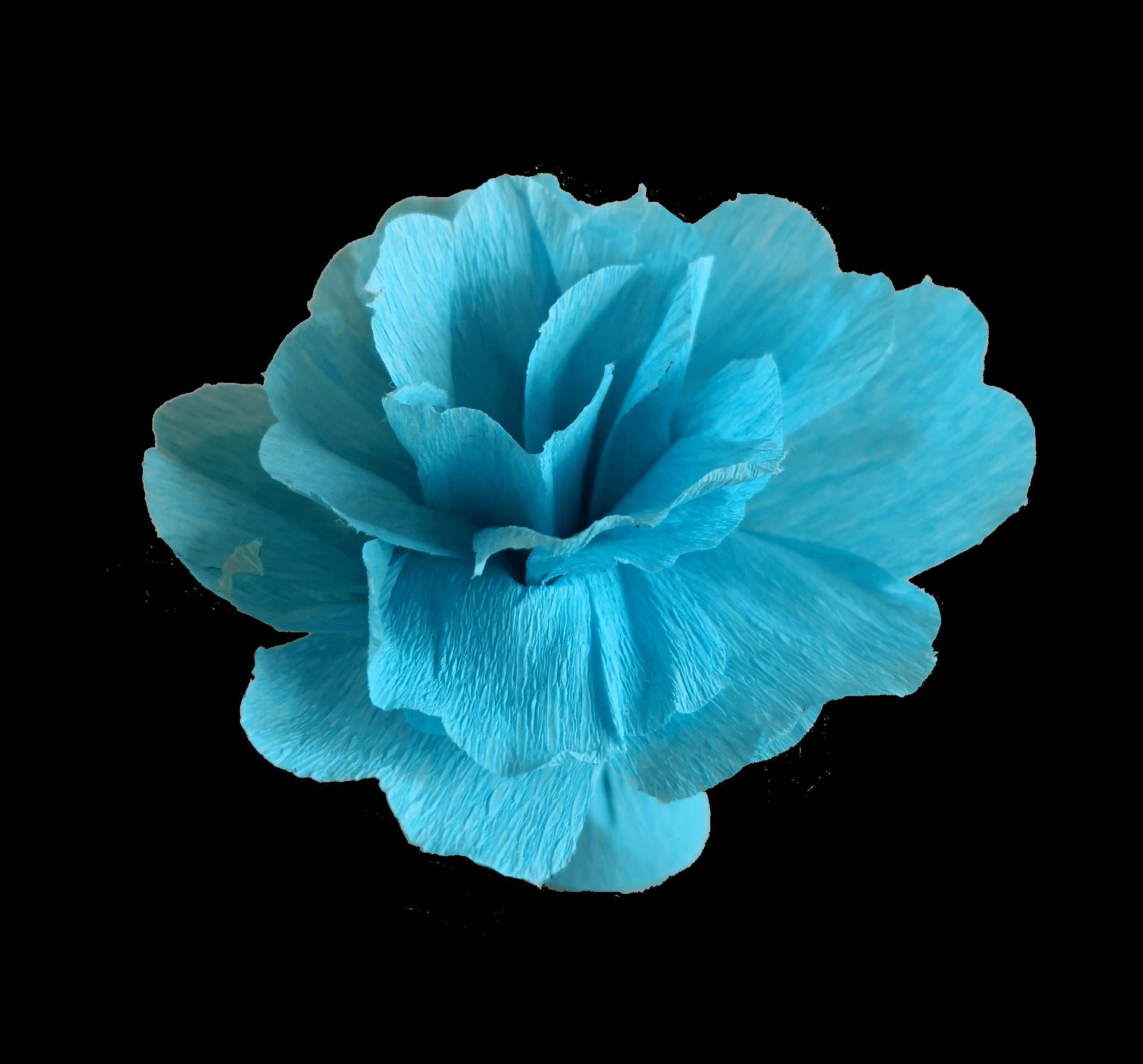 fleur pétale en papier crépon bleu ciel