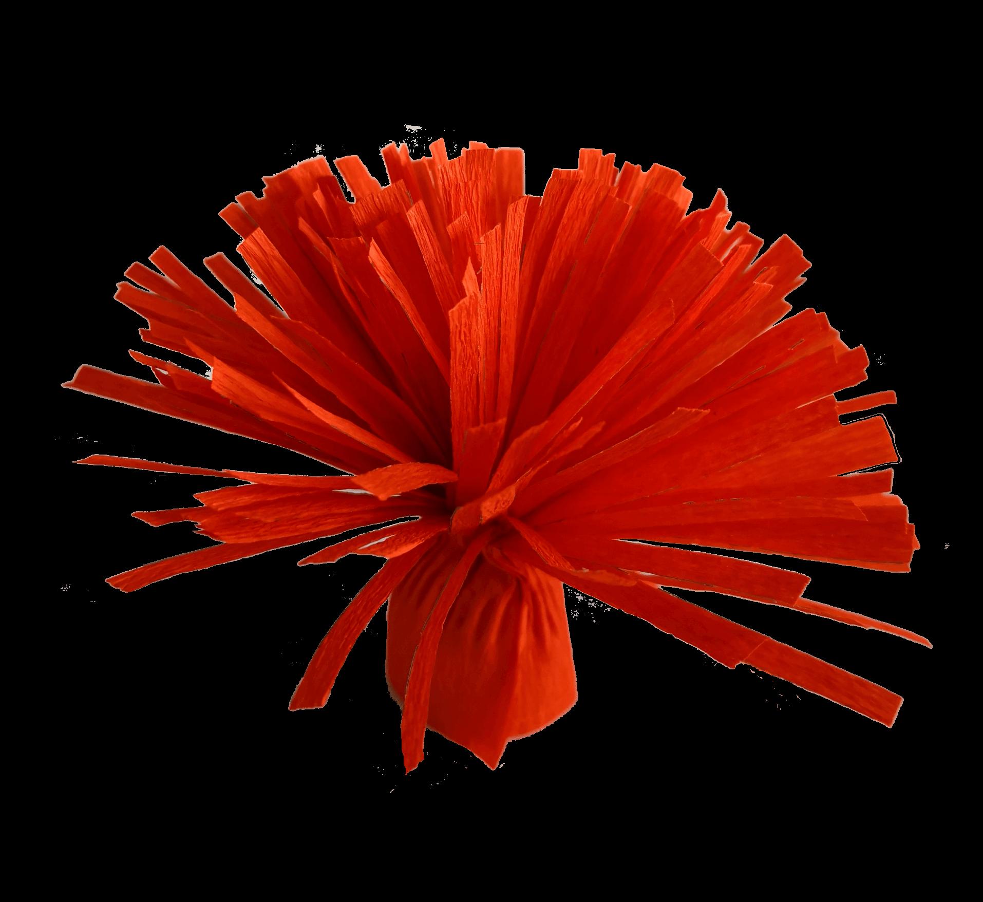 fleur en papier crépon frangée rouge